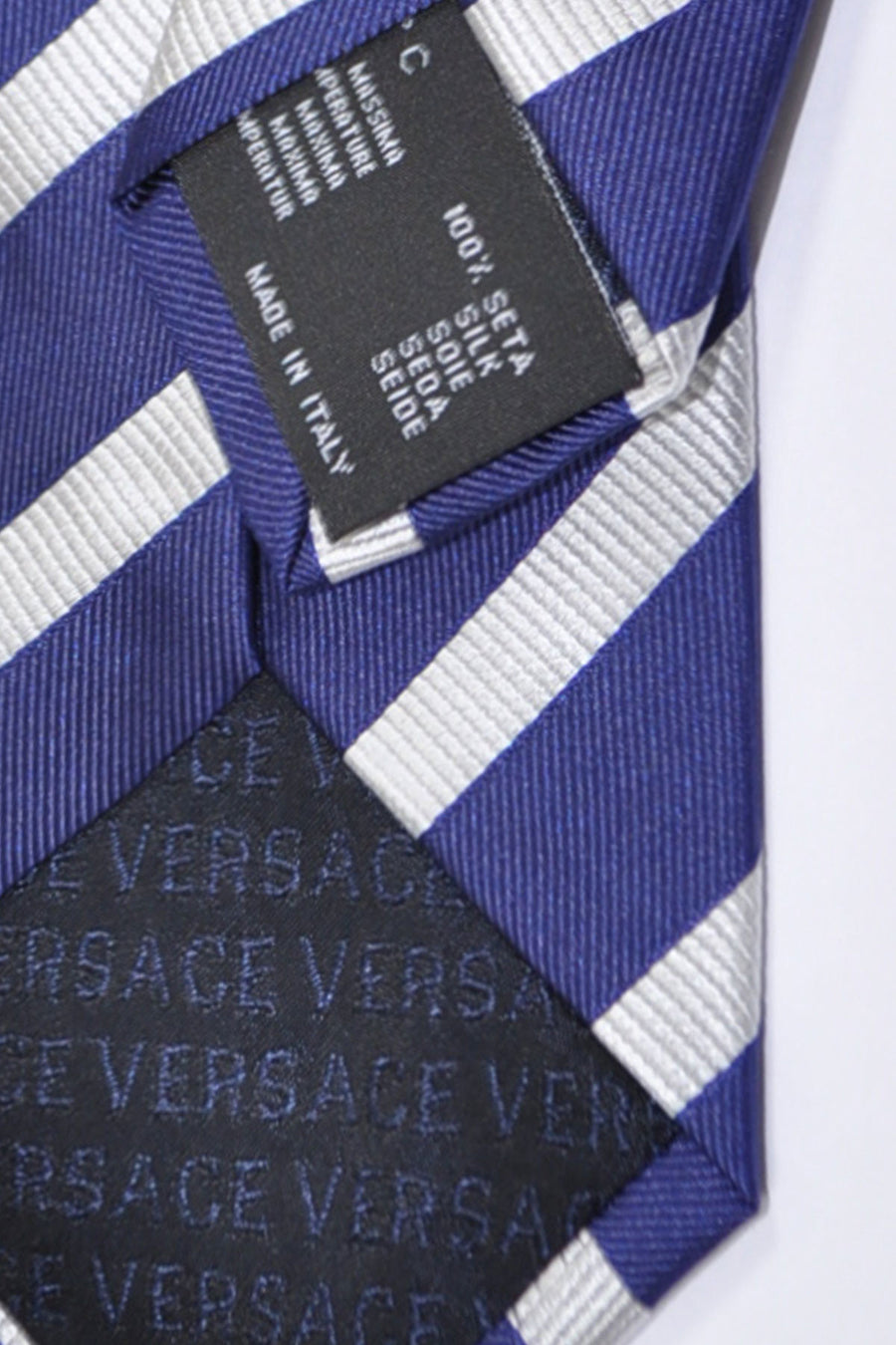 Versace Tie Navy Gray-Silver Stripes