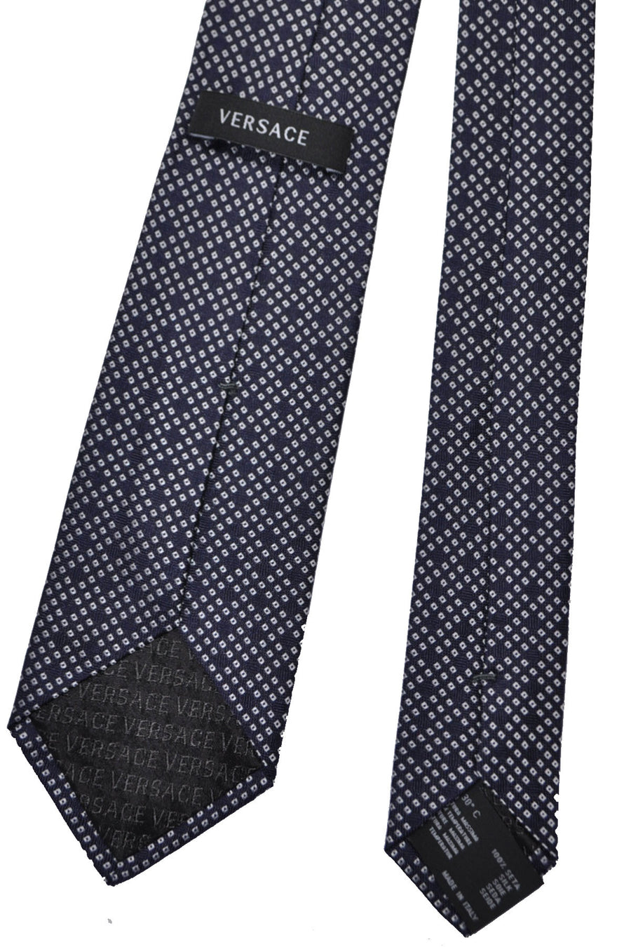 Versace Tie Navy Silver Mini Diamonds Design SALE