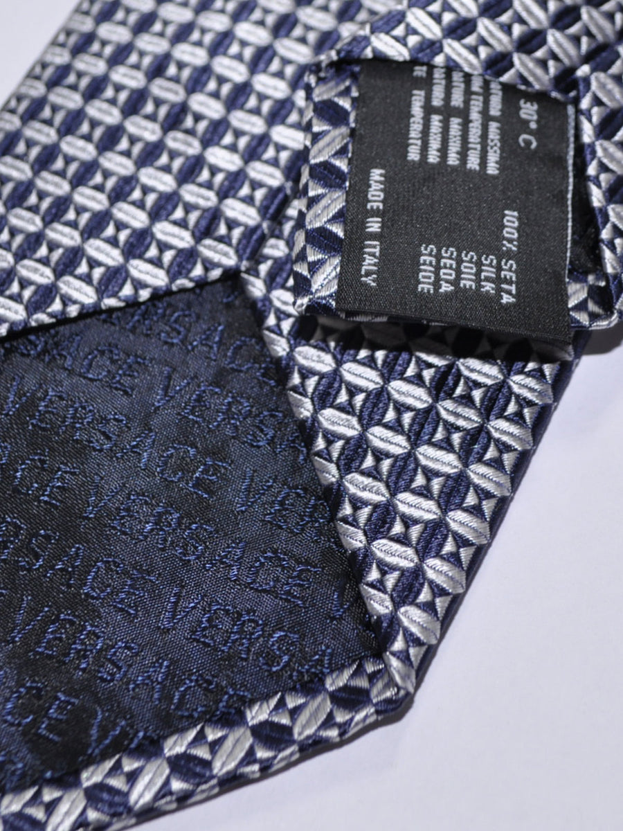 Versace Tie Navy Silver Design - Made in Italy