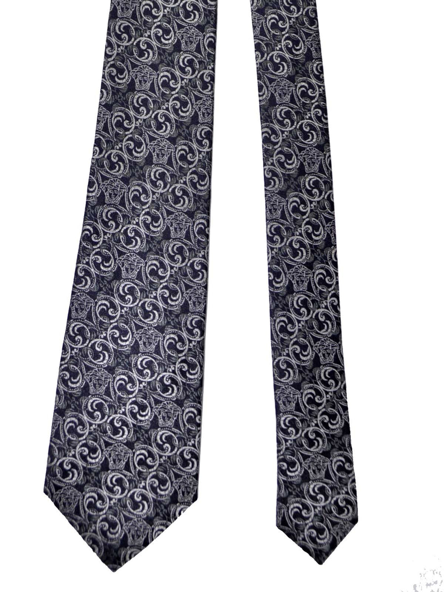 Versace Tie Black Gray Silver Ornamental Medusa - Made in Italy SALE