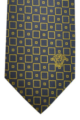 Versace Tie Navy Yellow Gold Squares