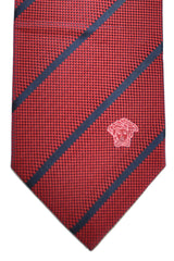 Versace Tie Burgundy Dark Navy Stripes