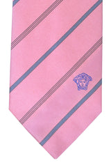 Versace Tie Pink Gray Stripes Design