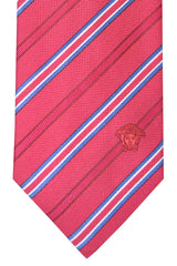 Versace Tie Red Blue Stripes Design