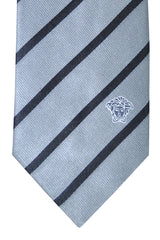 Versace Tie Gray Black Stripes Design