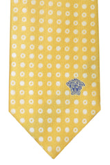 Versace Tie Yellow Cream Circles Design
