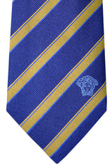 Versace Tie Navy Gold Stripes