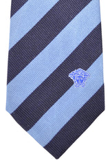 Versace Tie Navy Blue Stripes