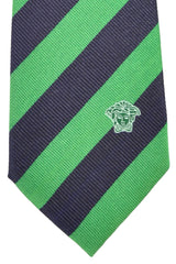 Versace Tie Navy Green Stripes