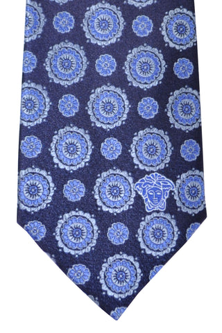 Versace Tie Navy Blue Floral - Made in Italy