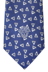 Versace Tie Navy Gray Silver Geometric - Made in Italy