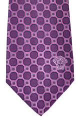 Versace Tie Purple Pink Geometric - Made in Italy
