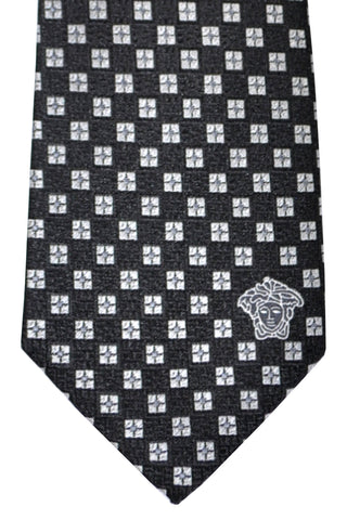 Versace Tie Black Silver Geometric - Made in Italy SALE