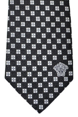 Versace Tie Black Silver Geometric - Made in Italy