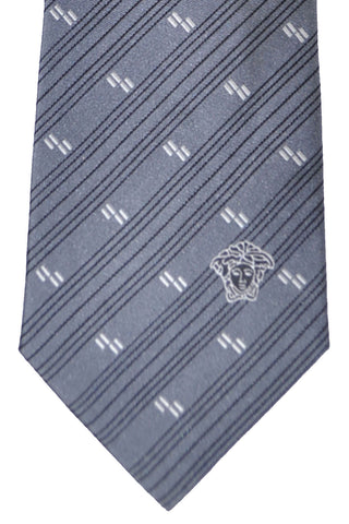 Versace Tie Gray Stripes Design - Made in Italy FINAL SALE