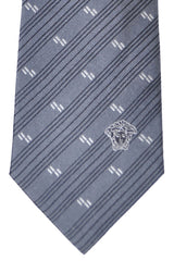 Versace Tie Gray Stripes - Made in Italy