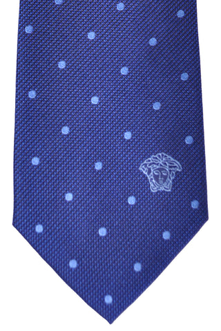 Versace Tie Navy Blue Dots - Made in Italy