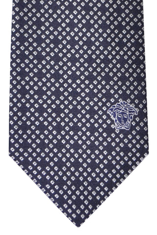 Versace Tie Navy Silver Geometric - Made in Italy