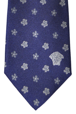 Versace Tie Navy Silver Floral - Made in Italy