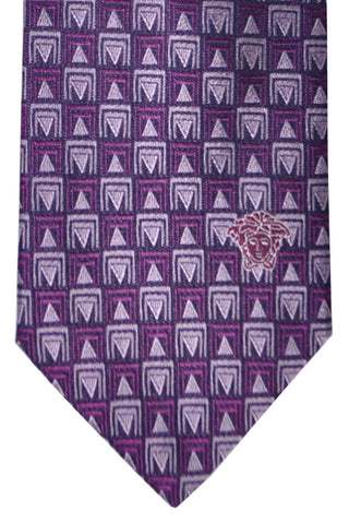 Versace Tie Purple Black Geometric - Made in Italy
