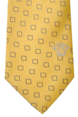Versace Tie Mustard Navy Squares - Made in Italy