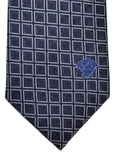 Versace Silk Tie Purple Silver Geometric