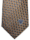 Versace Silk Tie Mustard Brown Black Geometric