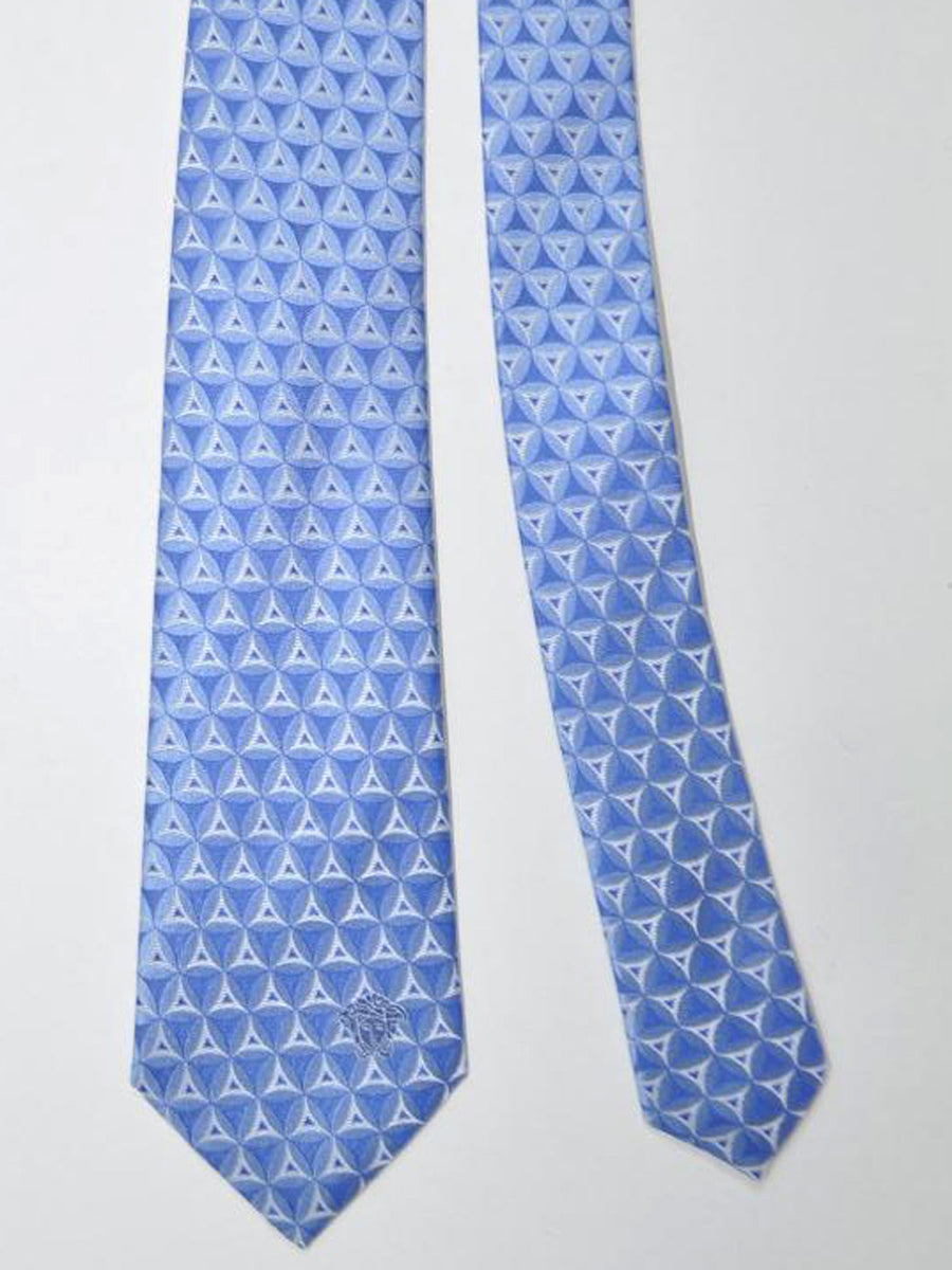 Versace Silk Tie Blue Triangles Design
