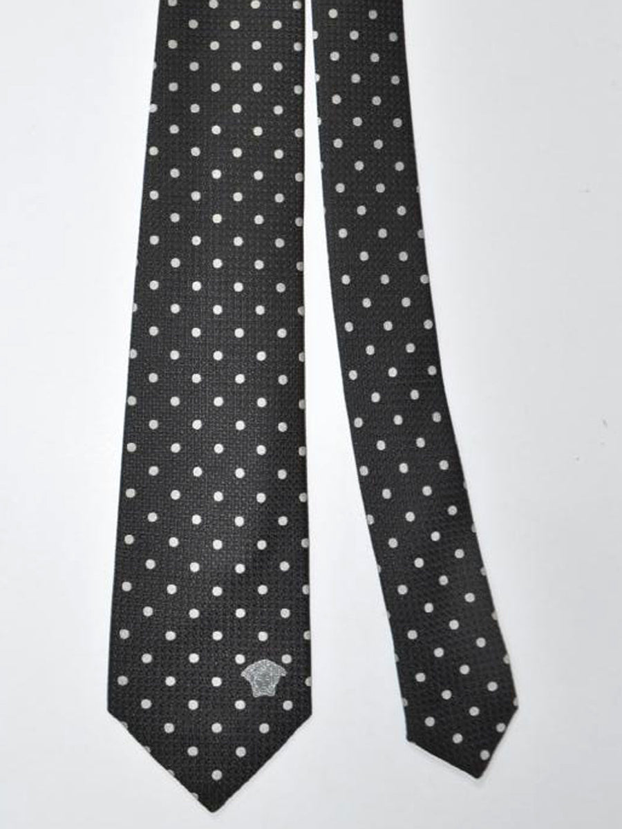 Versace Silk Tie Black Silver Dots Design