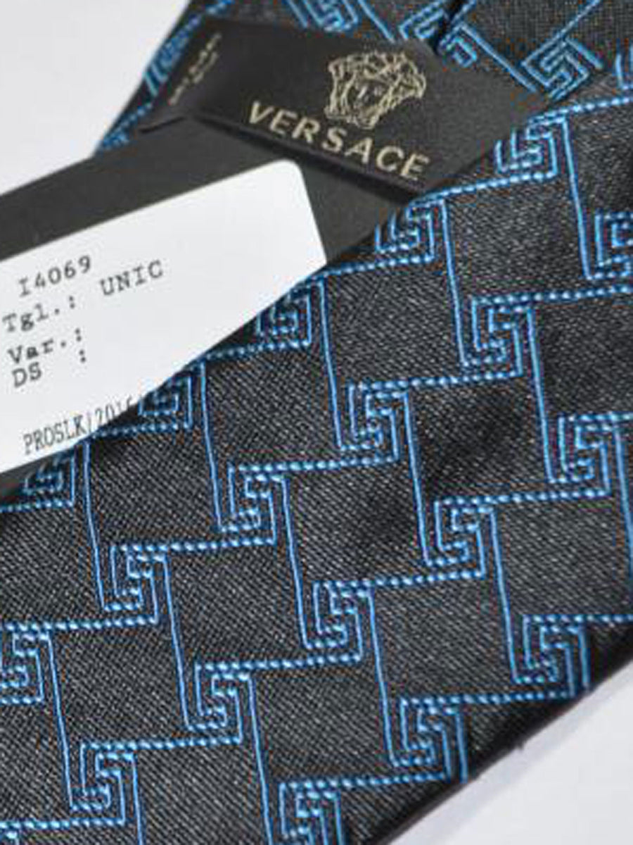 Versace Silk Tie Black Blue Greek Knit Design - Narrow Cut