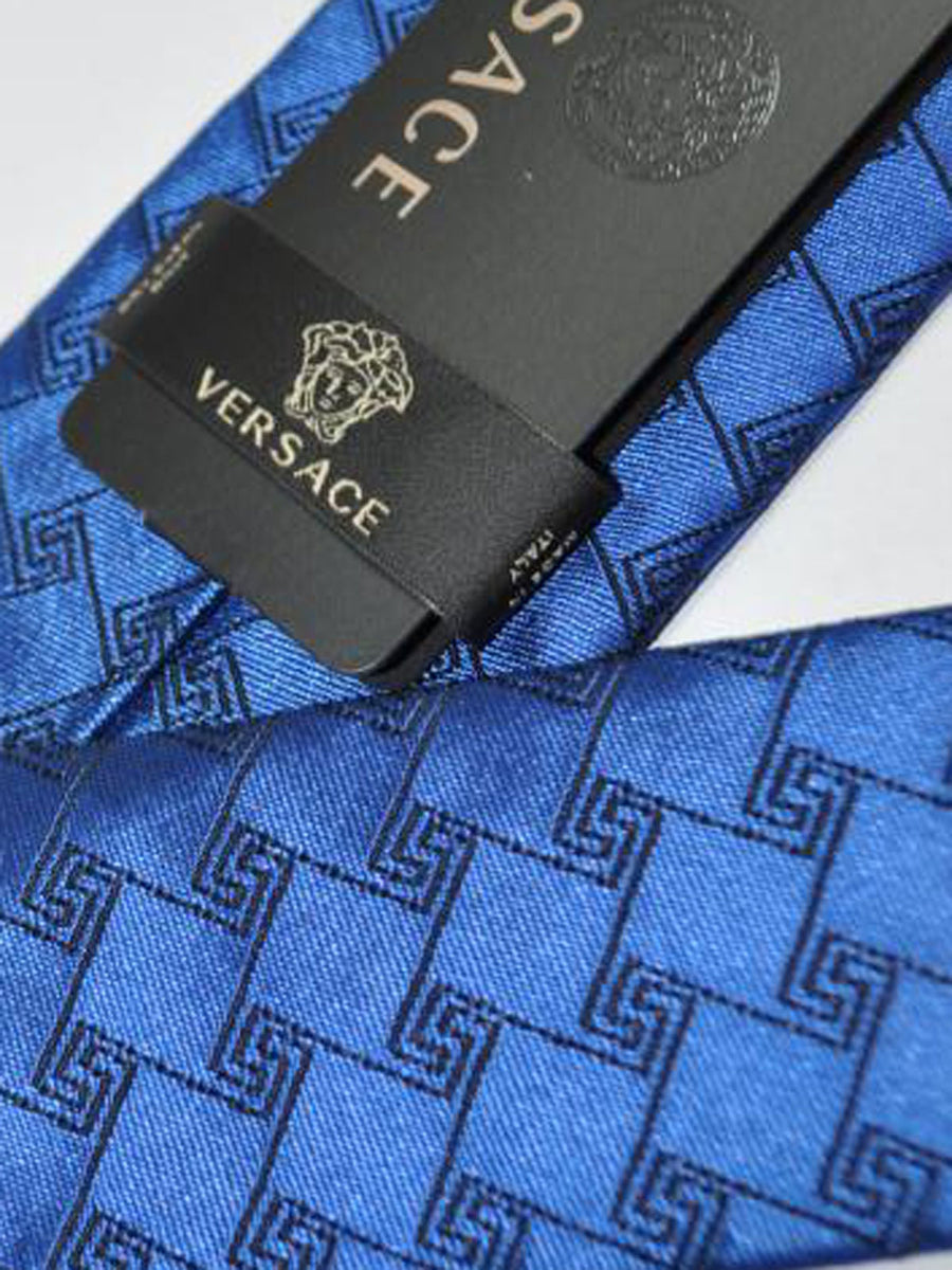 Versace Silk Tie Midnight Blue Greek Knit Design - Narrow Cut