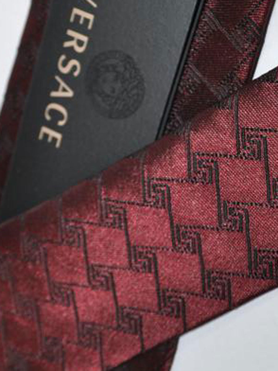 Versace Silk Tie Maroon Greek Knit Design - Narrow Cut