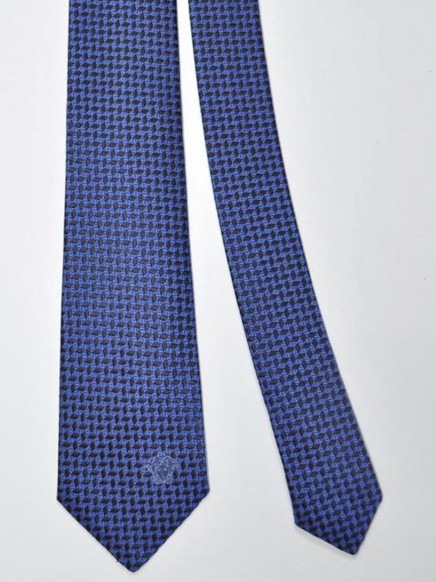 Versace Silk Tie Midnight Blue Navy Geometric Design