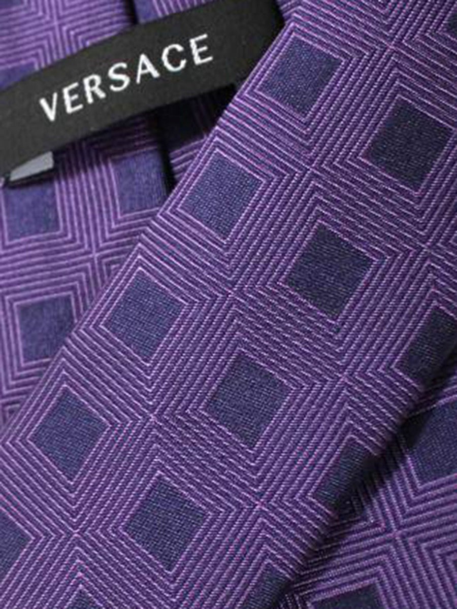 Versace Silk Tie Purple Geometric Design