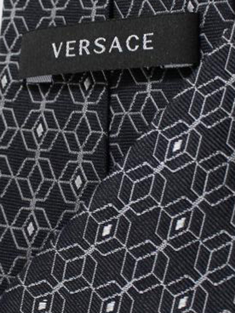 Versace Silk Tie Black Silver Geometric Design