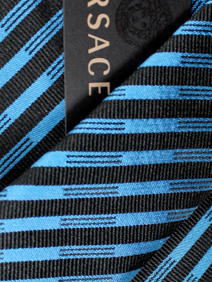 Versace Silk Tie Black Royal Blue Stripes Design - Narrow Cut
