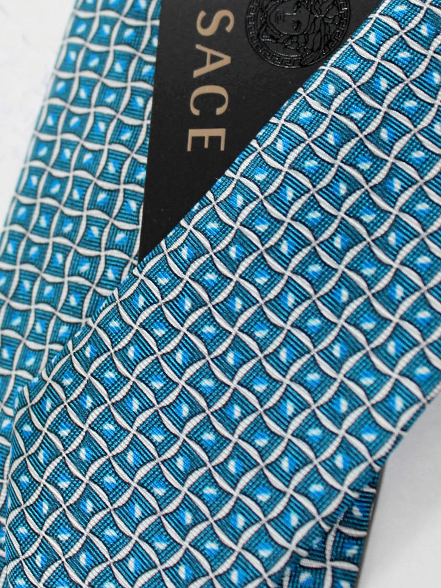 Versace Silk Tie Turquoise Blue Geometric Design - Narrow Cut