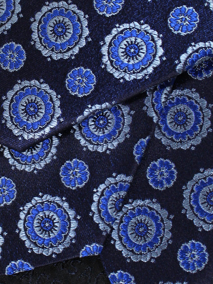 Versace Silk Tie Navy Royal Gray Medallions - Made in Italy