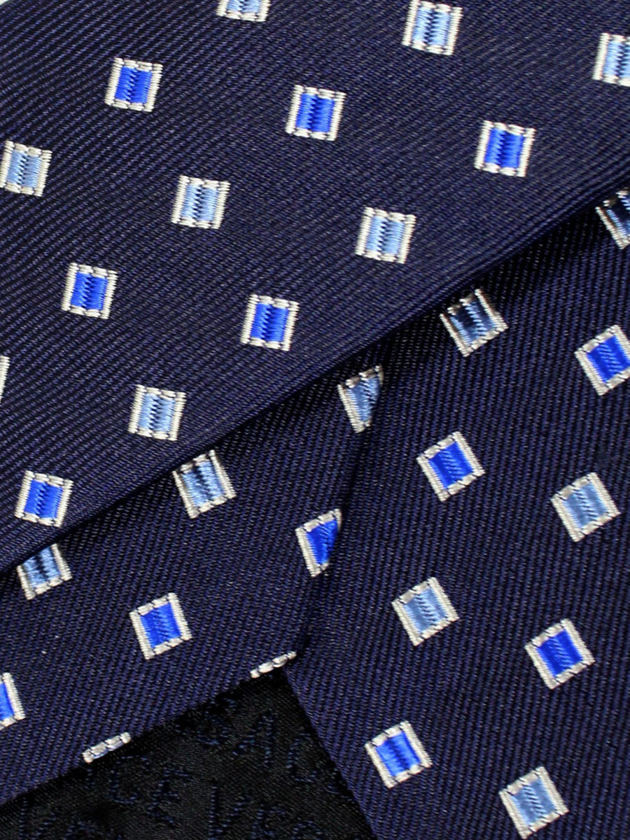 Versace Silk Tie Navy Royal Geometric - Made in Italy