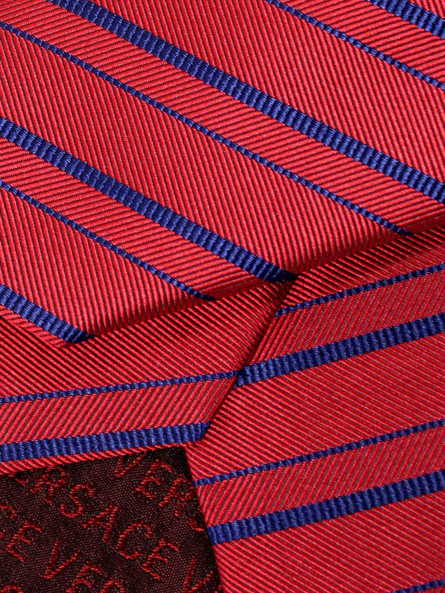 Versace Silk Tie Red Navy Stripes - Made in Italy