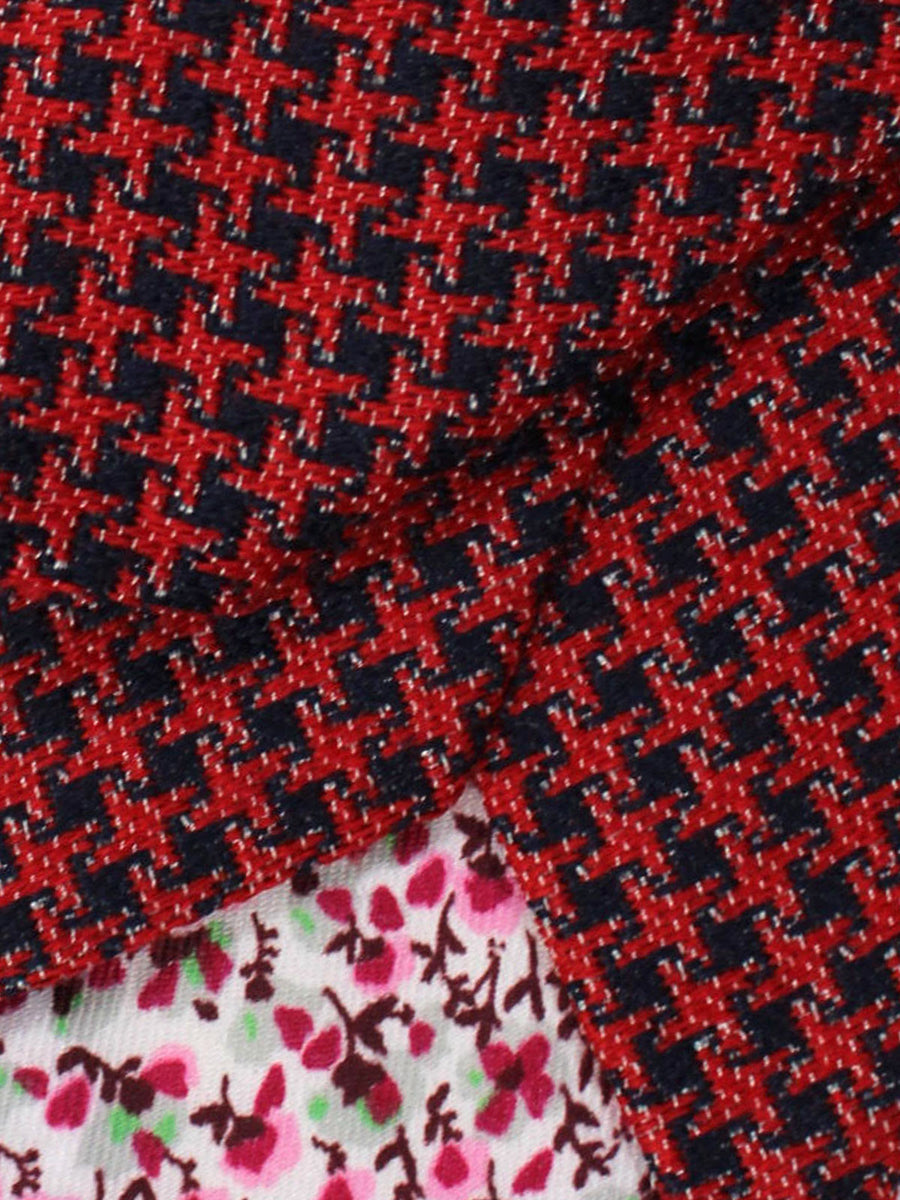 Kenzo Tie Red Navy Geometric - Narrow Necktie