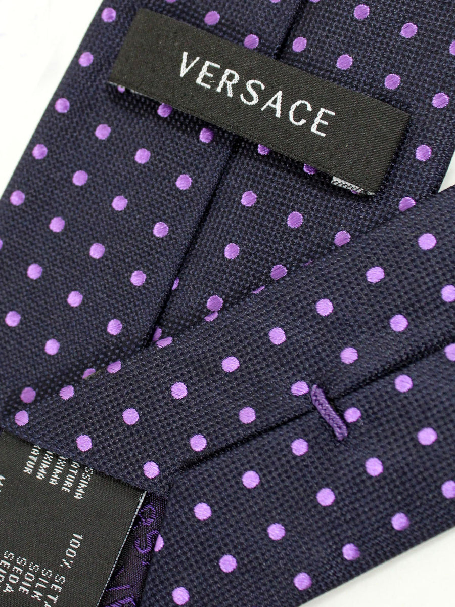 Versace Silk Tie Dark Blue Lilac Polka Dots Design - Narrow Cut