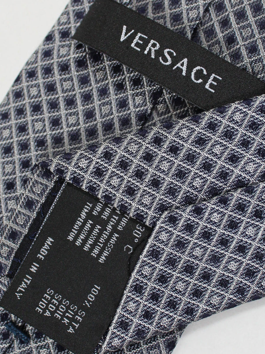 Versace Silk Tie Dark Blue Silver Geometric Design - Narrow Cut
