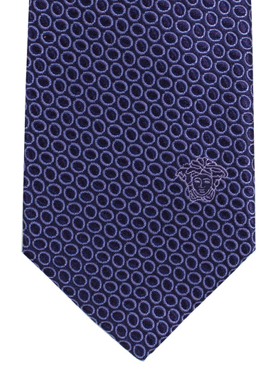 Versace Silk Tie Purple Silver Geometric Design - Narrow Cut
