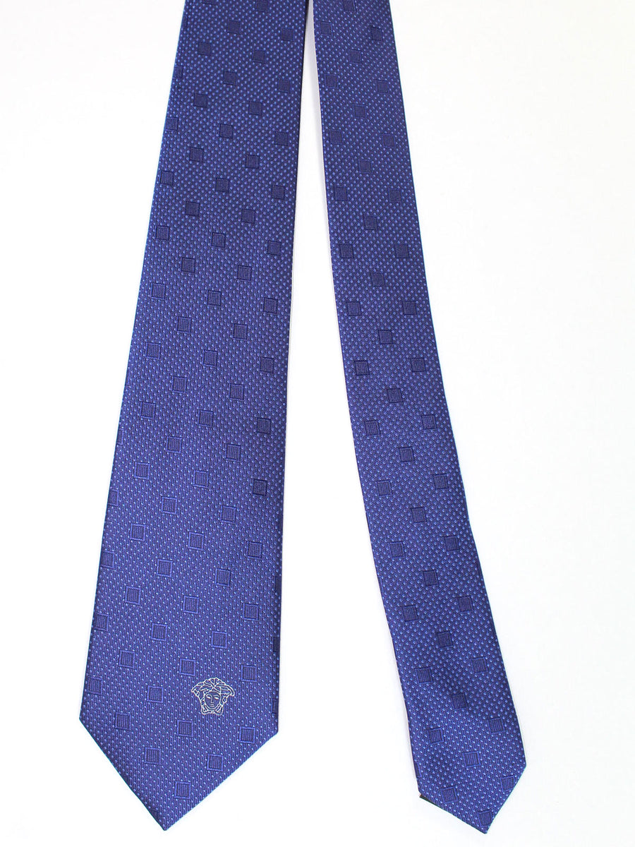 Versace Silk Tie Purple Squares - Made in Italy