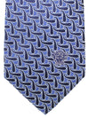 Versace Silk Tie Blue Navy Silver Paisley - Made in Italy
