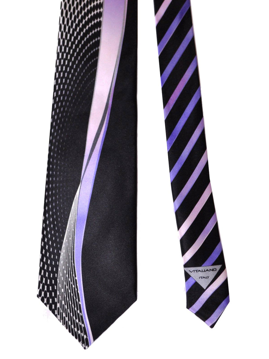 Vitaliano Pancaldi Tie Black Purple Silver Geometric