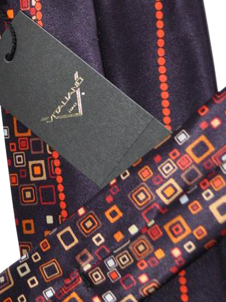 Vitaliano Pancaldi Tie Black Red Orange Geometric Design