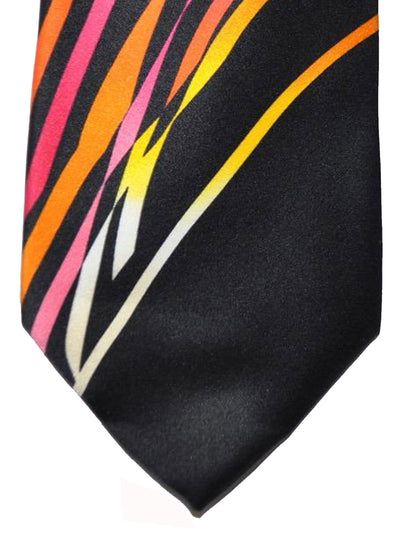 Vitaliano Pancaldi Tie Black Multicolored Swirl Design