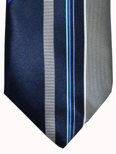Vitaliano Pancaldi Tie Dark Navy Blue Stripes Design
